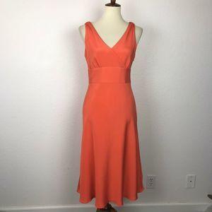 J.Crew Silk Orange Lined Fit Flare Dress